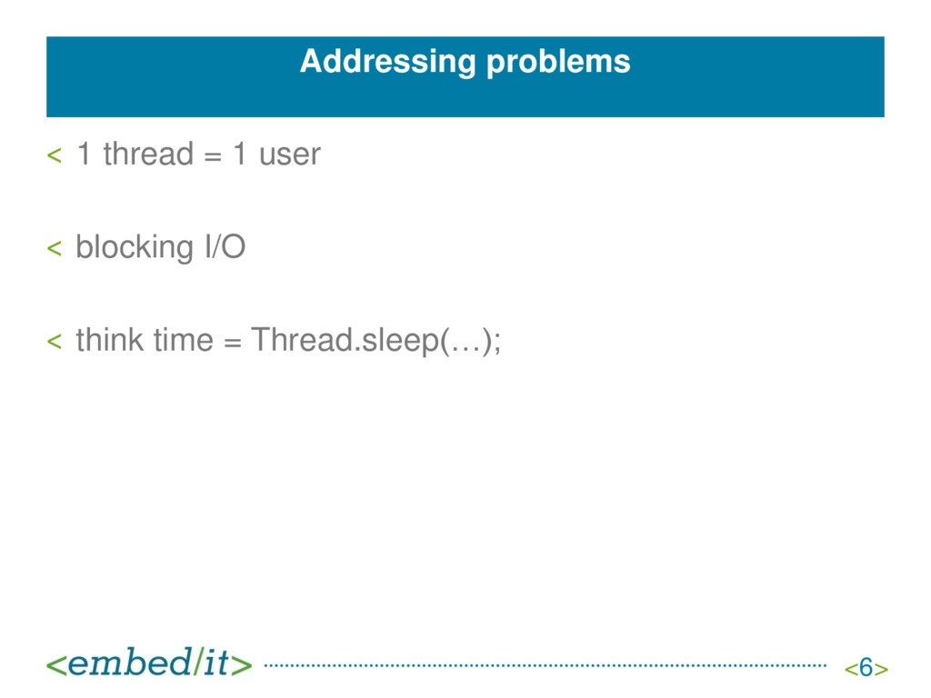 Addressing problems ˂ 1 thread = 1 user ˂ block...