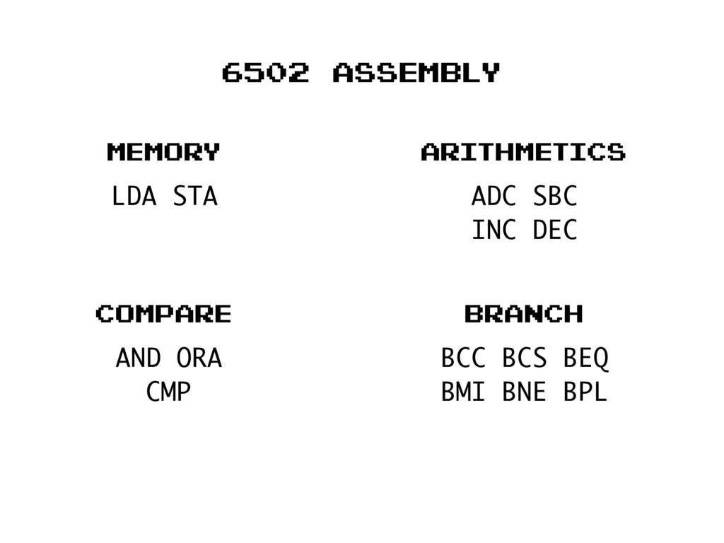 6502 assembly LDA STA memory ADC SBC INC DEC ar...