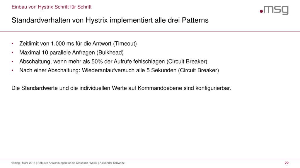 Einbau von Hystrix Schritt für Schritt Standard...