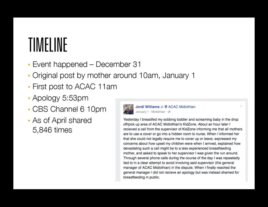 TIMELINE • Event happened – December 31 • Or...