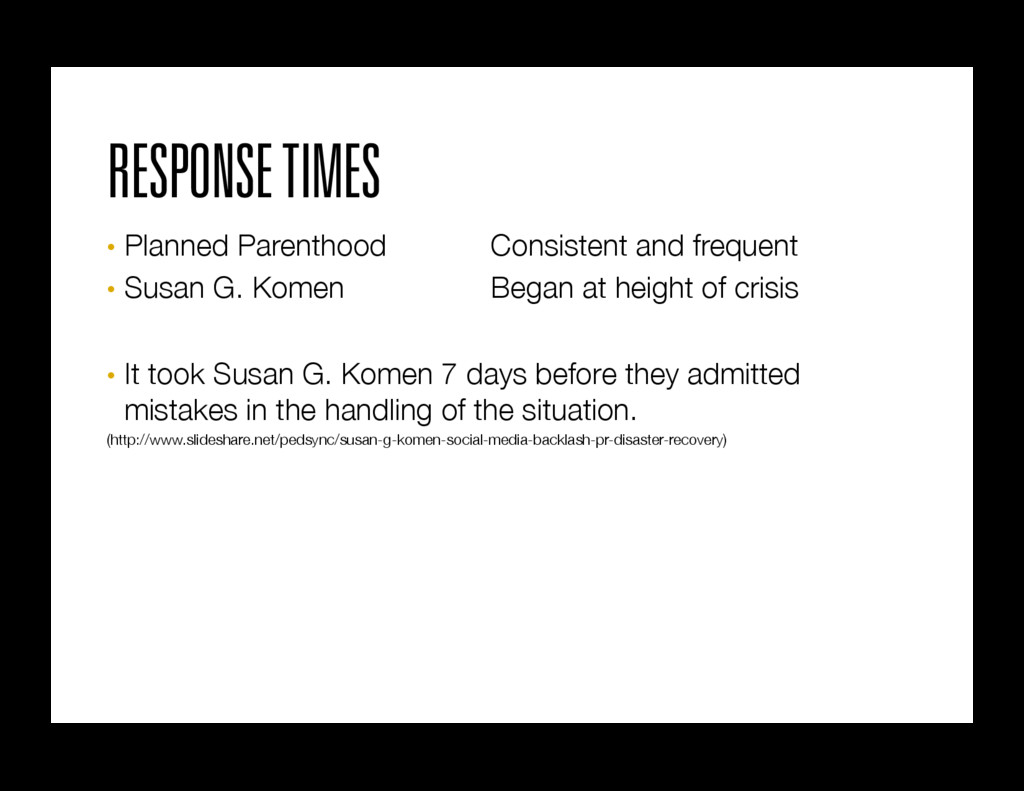 RESPONSE TIMES • Planned Parenthood  Consist...