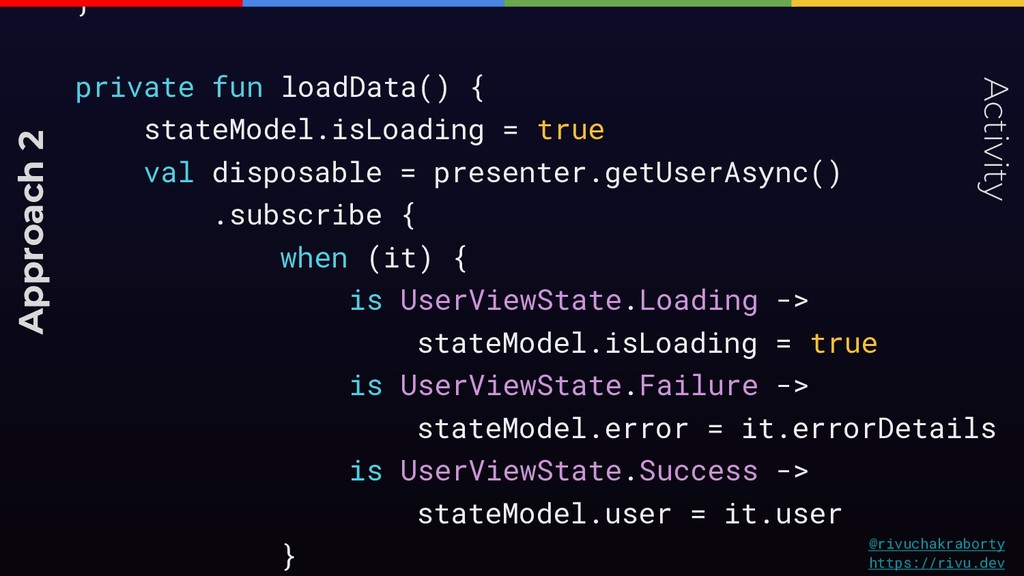 } private fun loadData() { stateModel.isLoading...