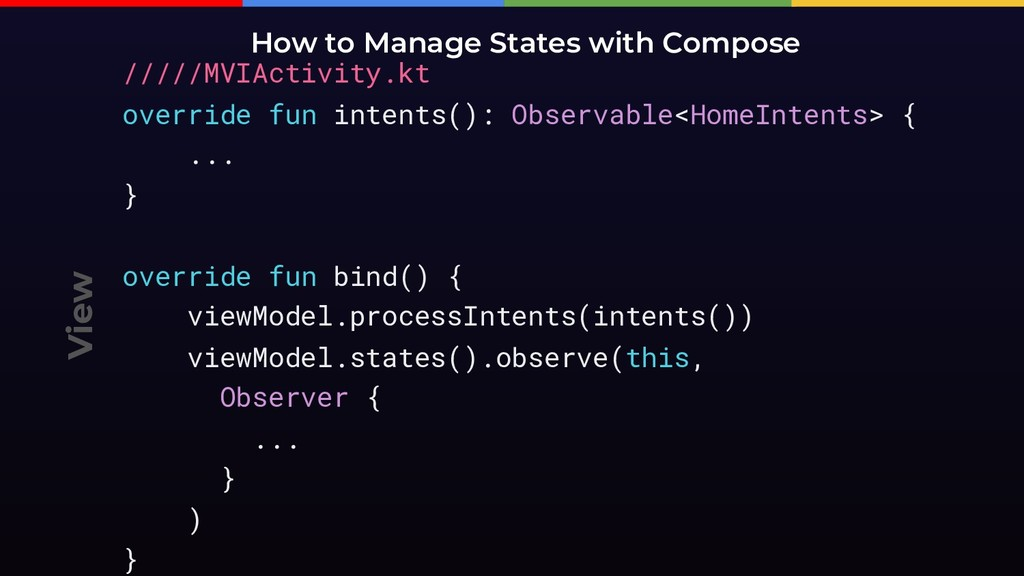 View How to Manage States with Compose /////MVI...