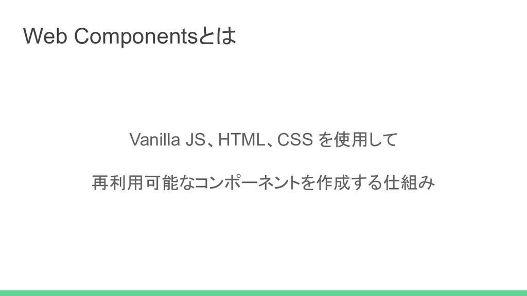 Web Componentsとは Vanilla JS、HTML、CSS を使用して 再利用可...