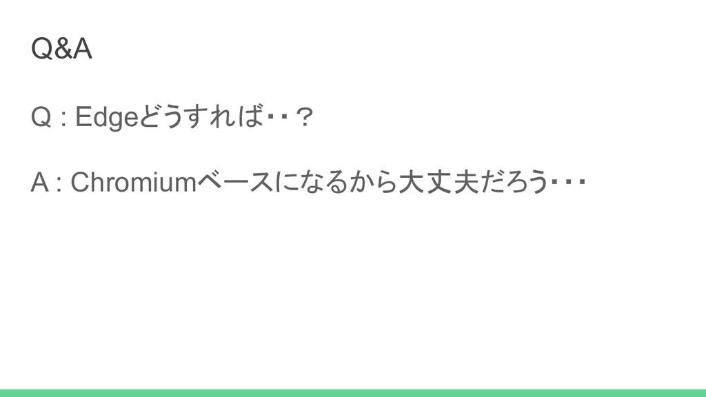 Q : Edgeどうすれば・・? A : Chromiumベースになるから大丈夫だろう・・・ ...
