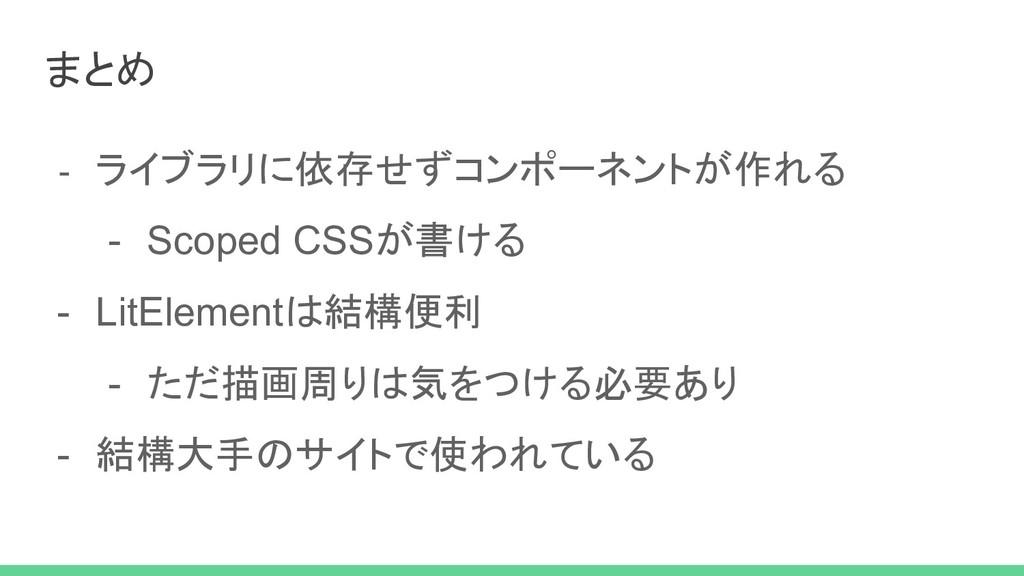- ライブラリに依存せずコンポーネントが作れる - Scoped CSSが書ける - LitE...