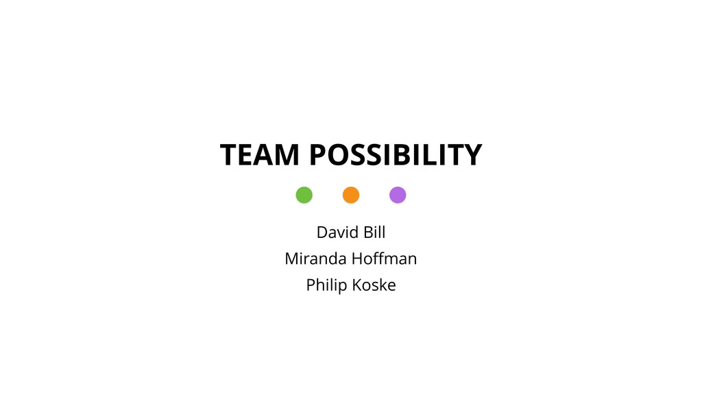 TEAM POSSIBILITY David Bill Miranda Hoffman Phil...