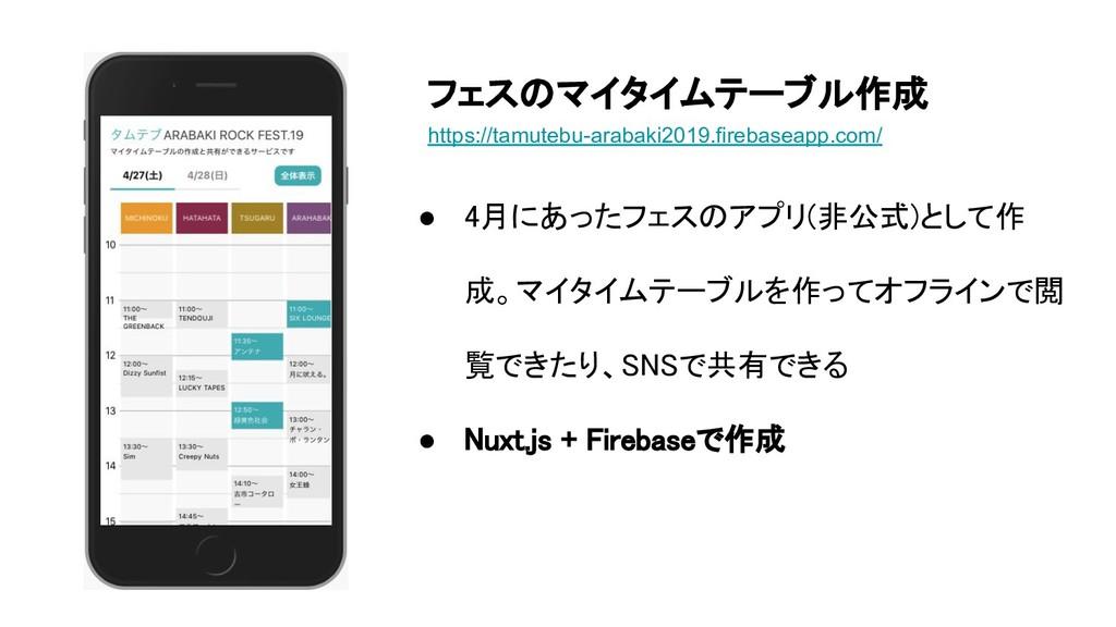 ● 4月にあったフェスのアプリ(非公式)として作 成。マイタイムテーブルを作ってオフラインで閲...