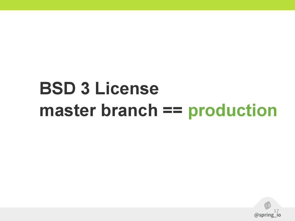 17 BSD 3 License master branch == production
