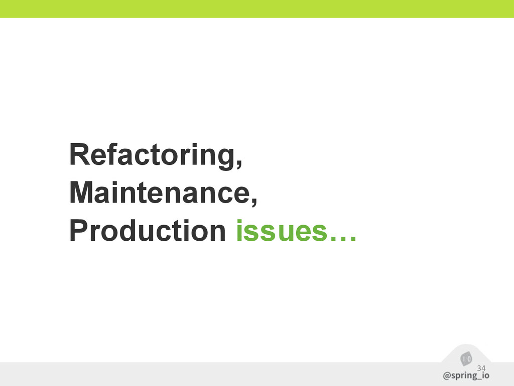 34 Refactoring, Maintenance, Production issues…