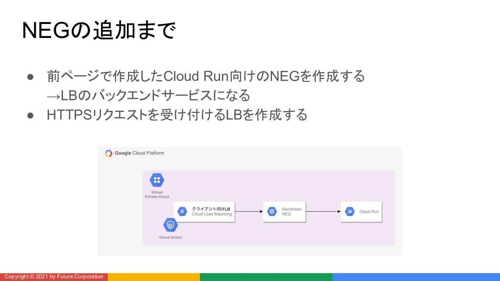NEGの追加まで ● 前ページで作成したCloud Run向けのNEGを作成する →LBのバッ...
