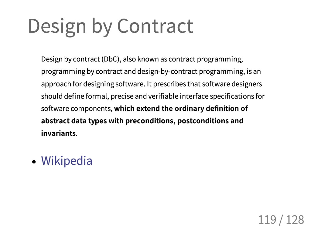 Design by Contract Design by contract (DbC), al...
