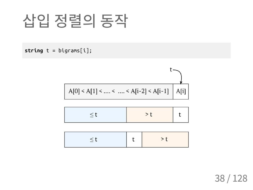 삽입 정렬의 동작 s t r i n g t = b i g r a m s [ i ] ;...