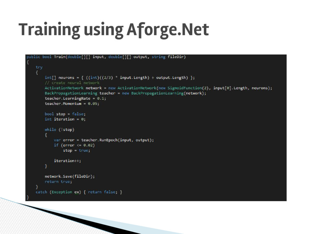 Training using Aforge.Net