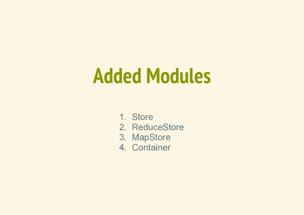 Added Modules 1. Store 2. ReduceStore 3. MapSto...