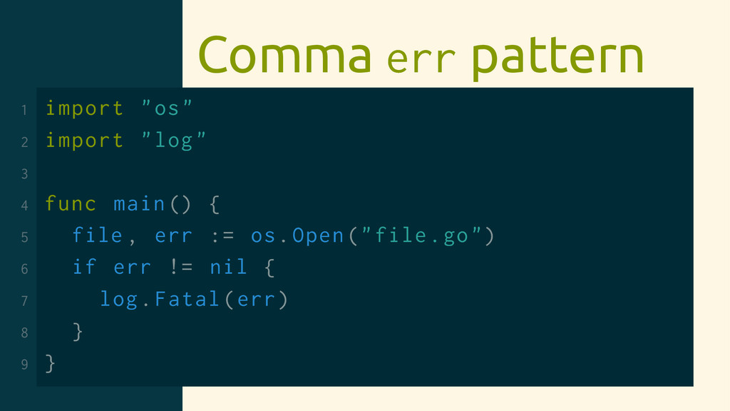 "Comma err pattern 1 import ""os"" 2 import ""log"" ..."