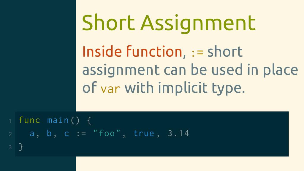 Short Assignment Inside function, := short assi...