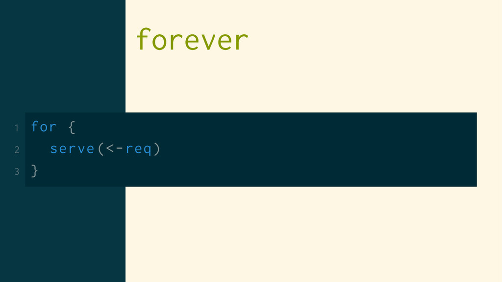 forever 1 for { 2 serve(<-req) 3 }