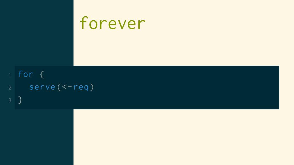forever 1 for { 2 serve(<-req) 3 }