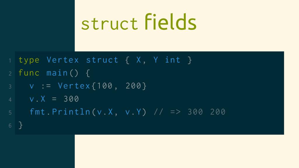 struct fields 1 type Vertex struct { X, Y int } ...