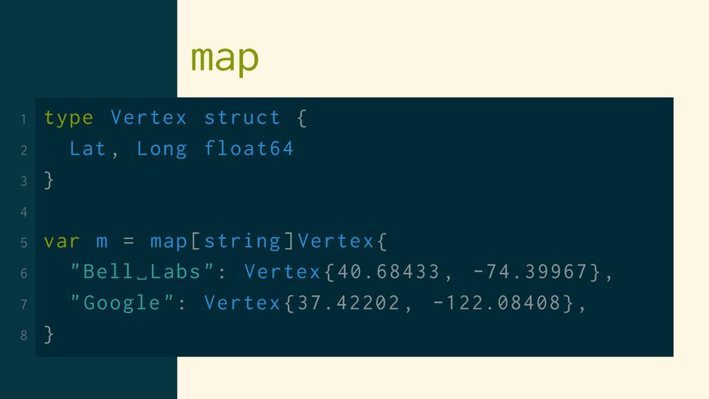 map 1 type Vertex struct { 2 Lat , Long float64...