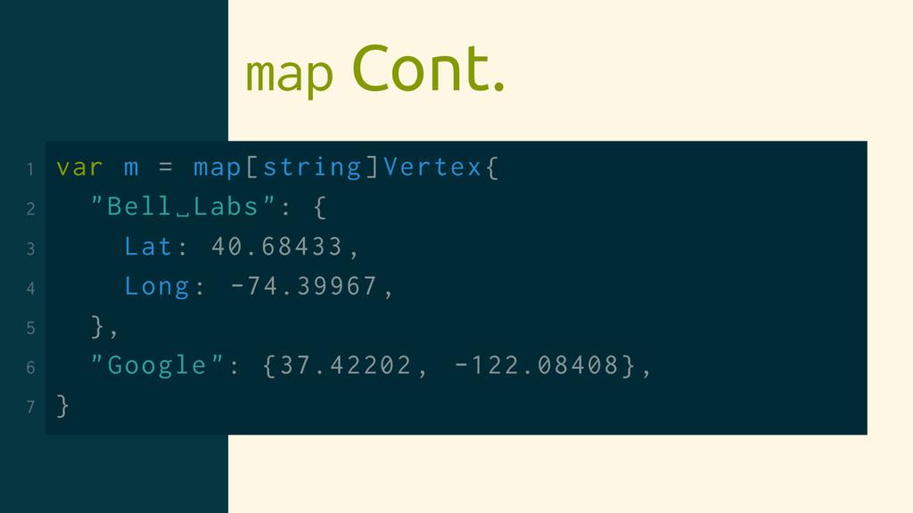 "map Cont. 1 var m = map[string]Vertex{ 2 ""Bell␣..."