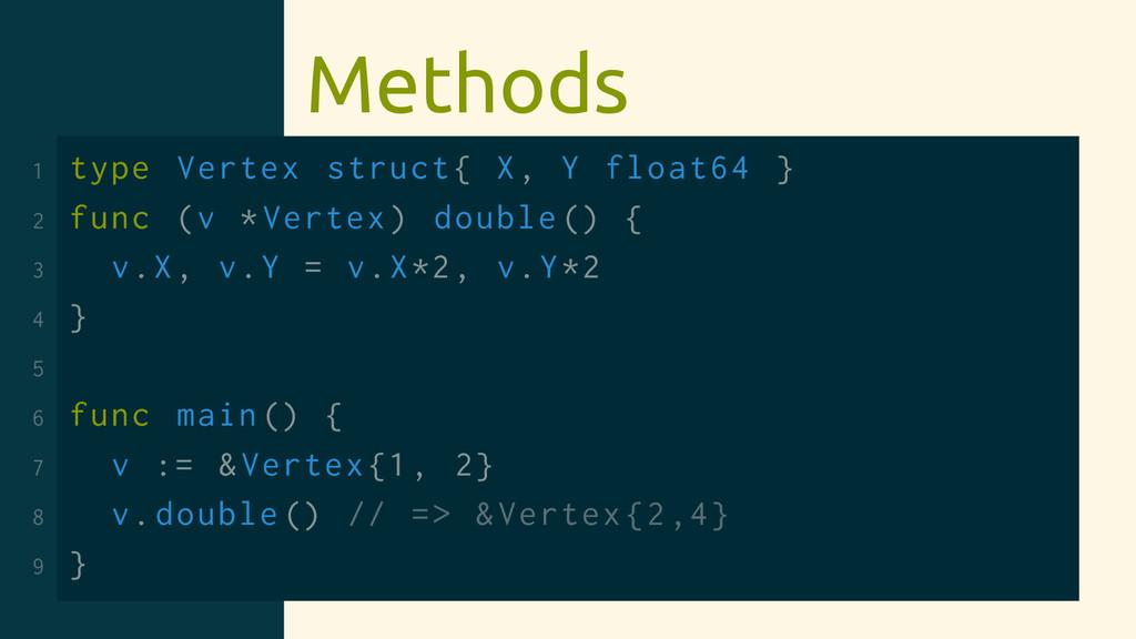 Methods 1 type Vertex struct{ X, Y float64 } 2 ...