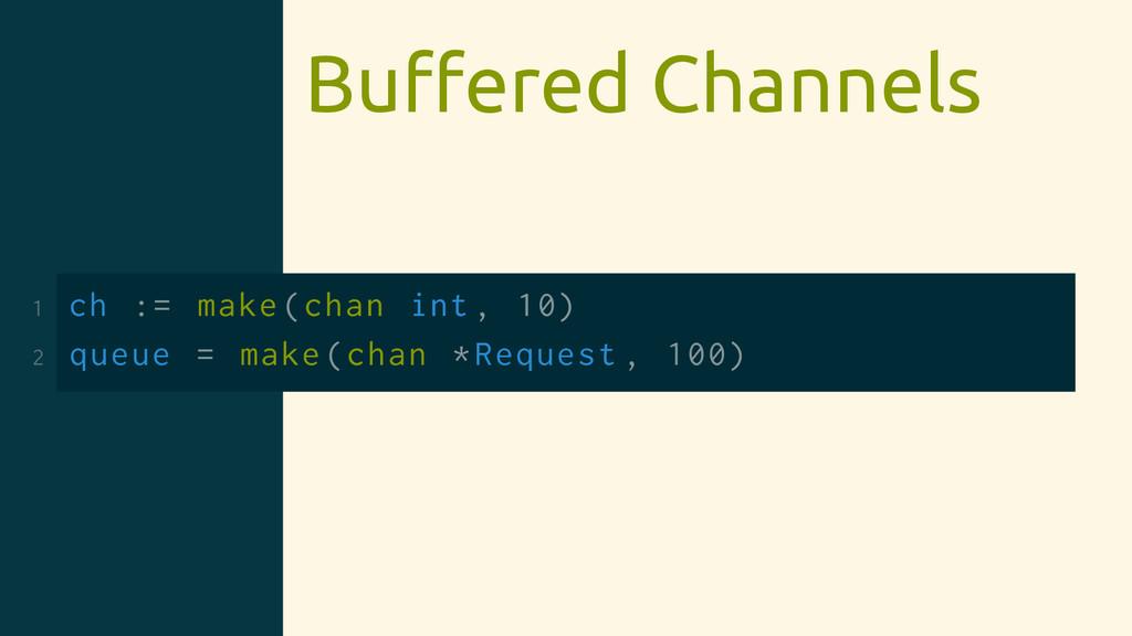 Buffered Channels 1 ch := make(chan int , 10) 2 ...