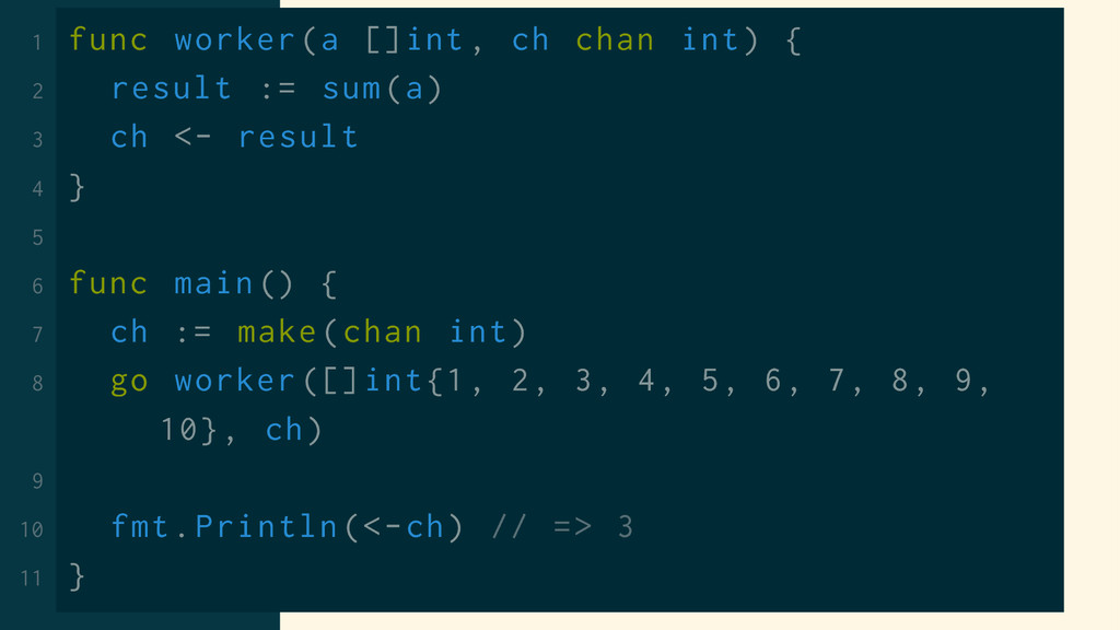 1 func worker(a []int , ch chan int) { 2 result...