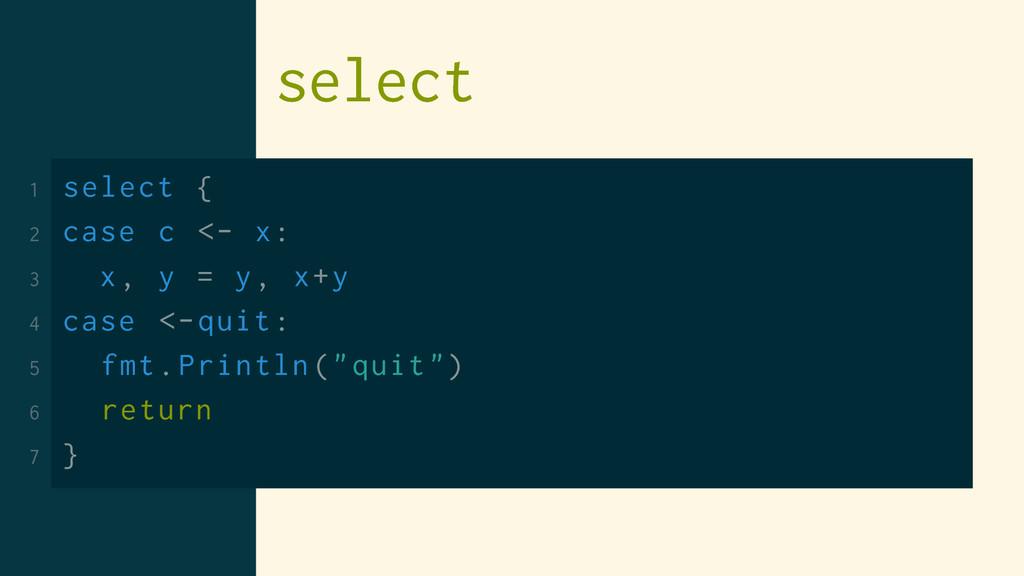 select 1 select { 2 case c <- x: 3 x, y = y, x+...