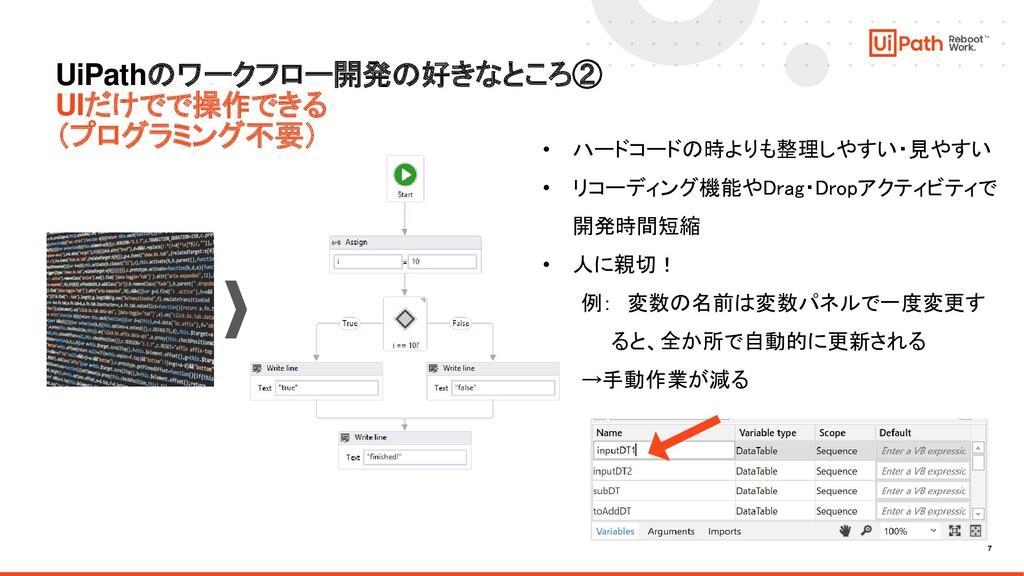 7 UiPathのワークフロー開発の好きなところ② UIだけでで操作できる (プログラミング不...