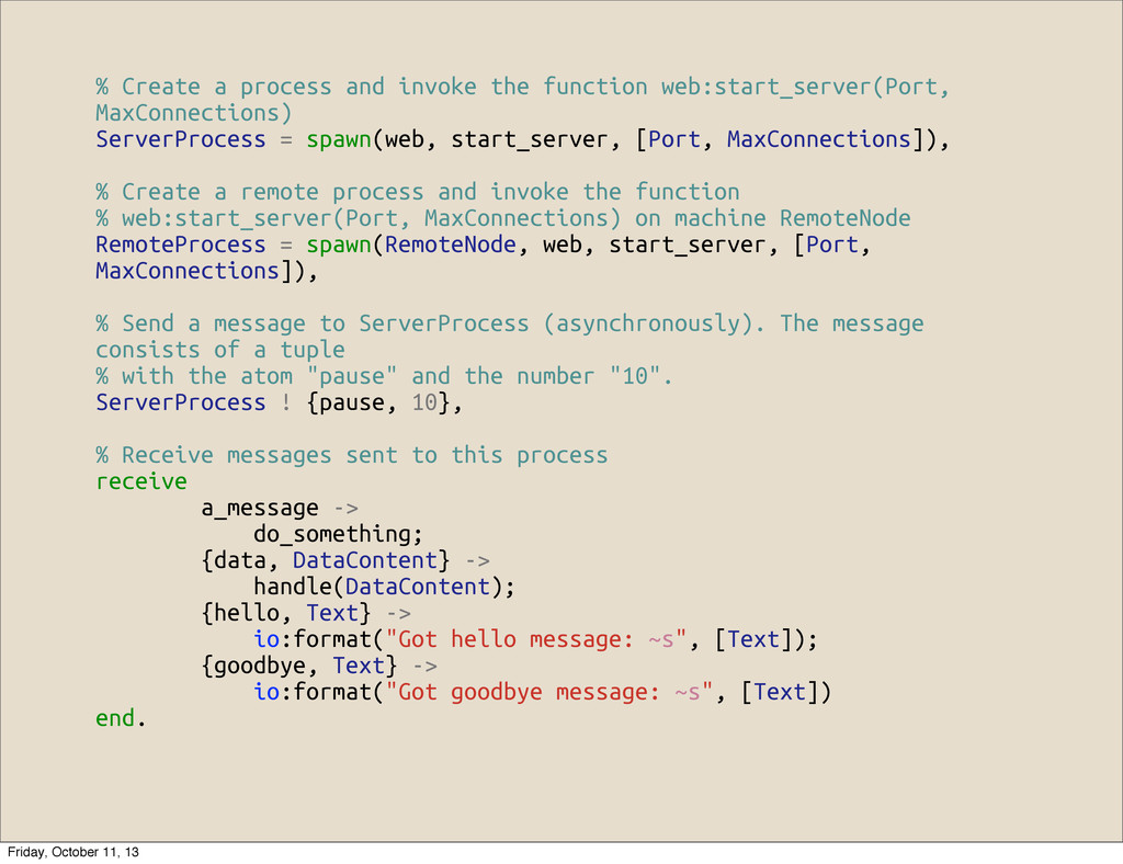 % Create a process and invoke the function web:...