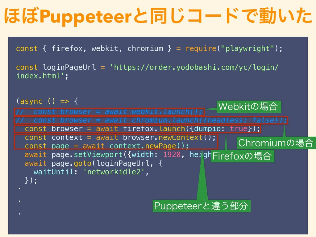 "const { firefox, webkit, chromium } = require(""..."
