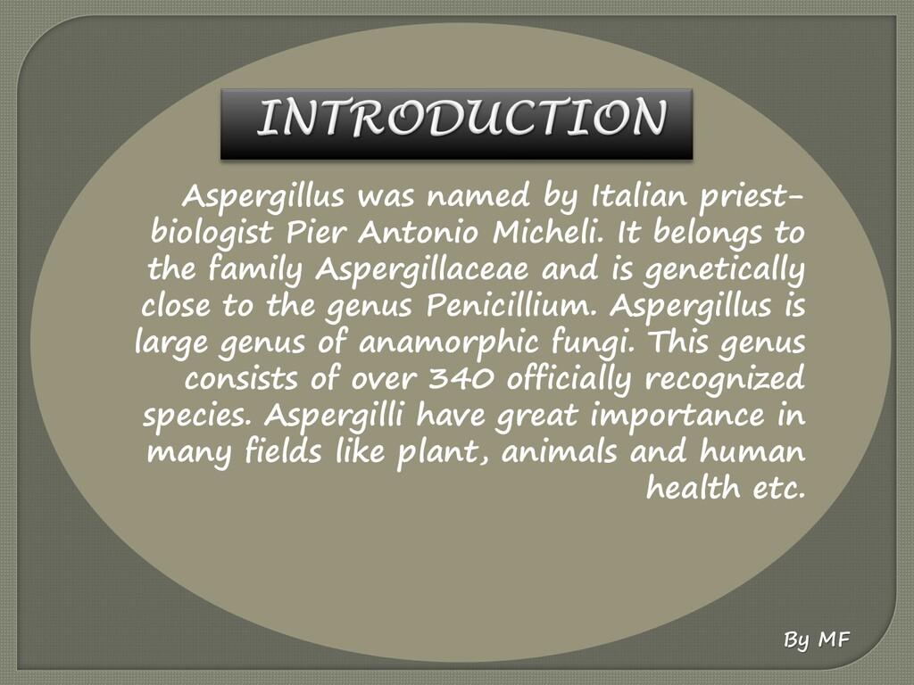 Aspergillus was named by Italian priest- biolog...