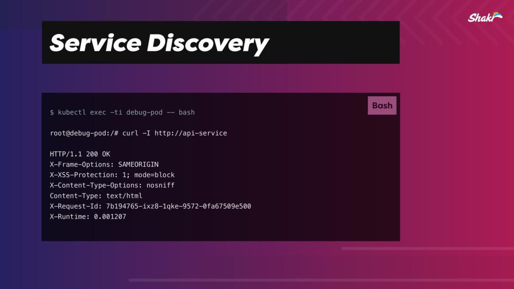 Service Discovery $ kubectl exec -ti debug-pod ...