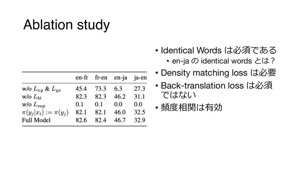 Ablation study • Identical Words   • en-ja ...