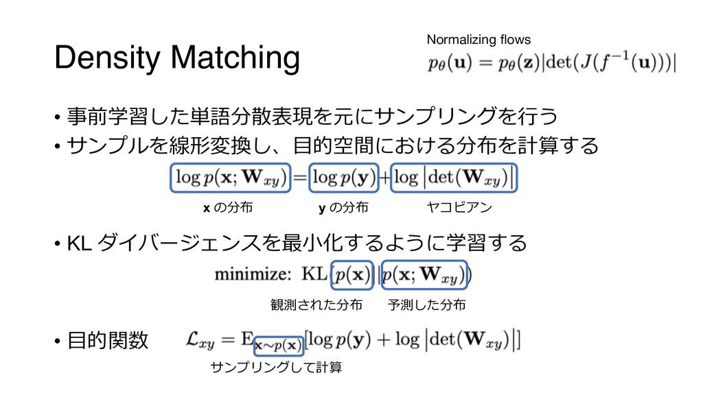 """Density Matching • """"$+< ;7#?,.2  ! • ..."""