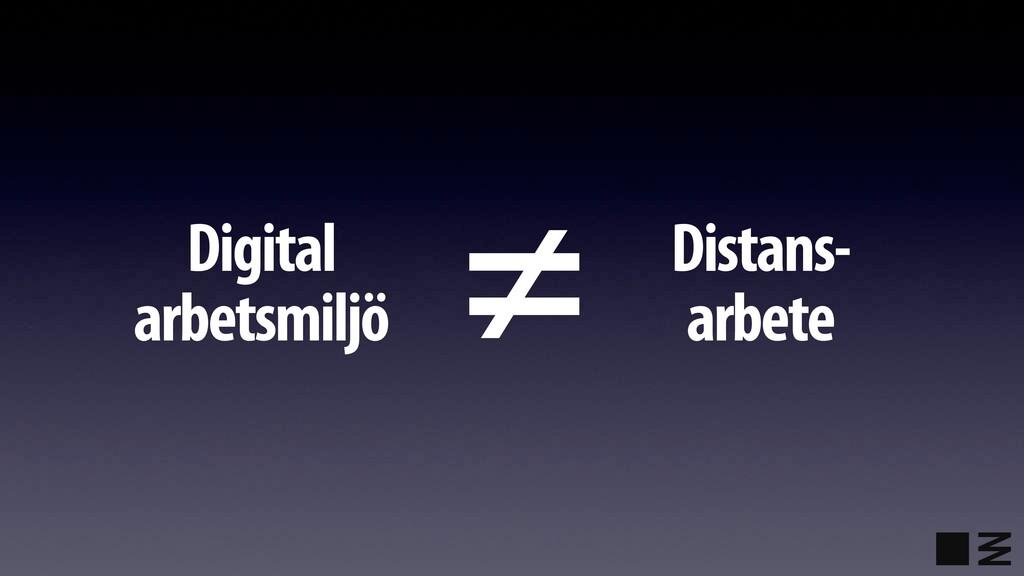 Digital arbetsmiljö Distans- arbete ≠