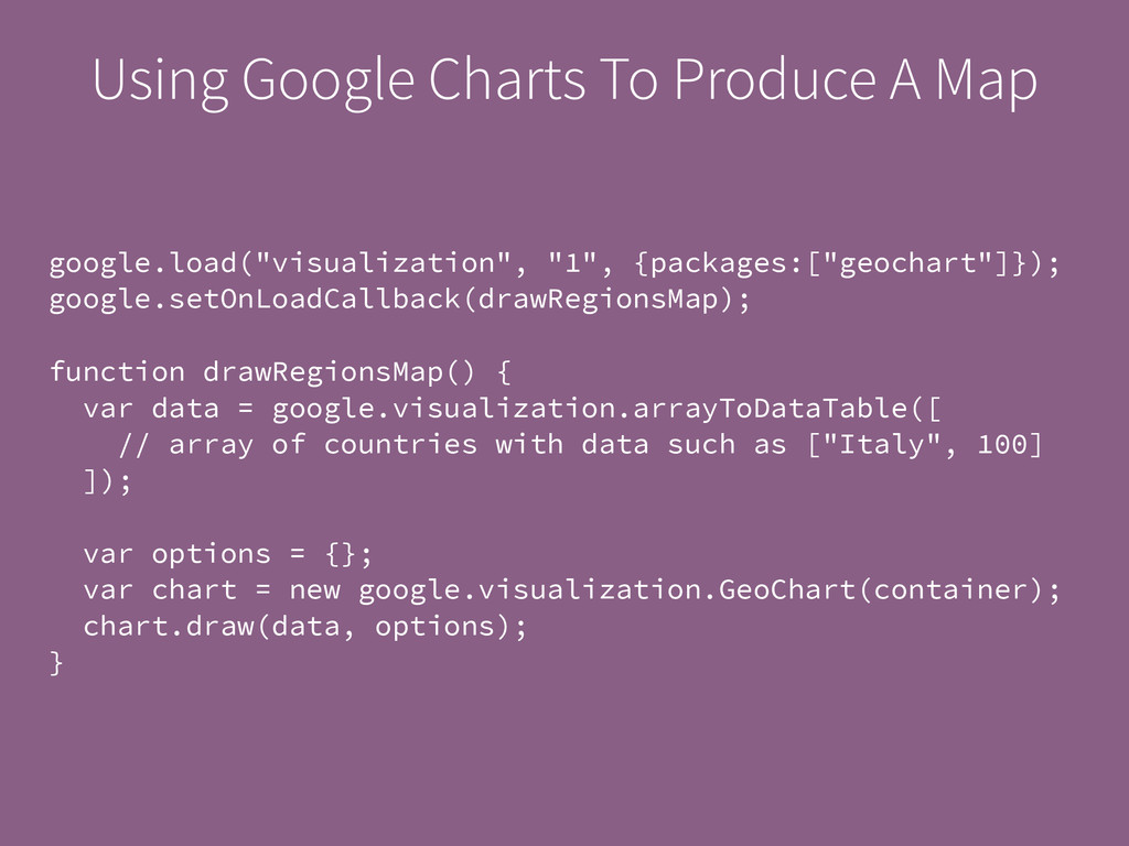 Using Google Charts To Produce A Map google.loa...