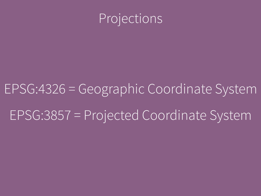Projections EPSG:4326 = Geographic Coordinate S...