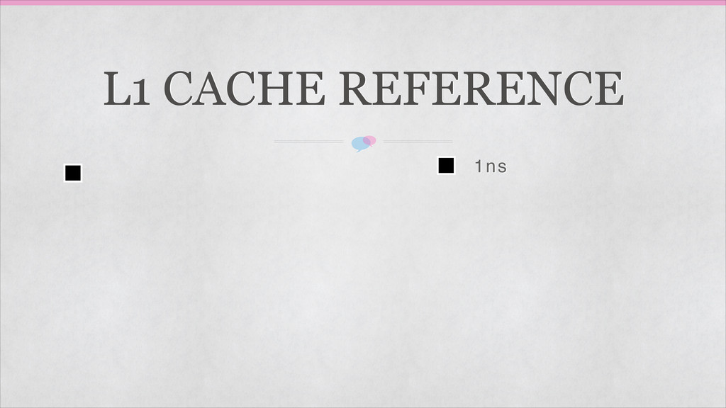 L1 CACHE REFERENCE 1ns