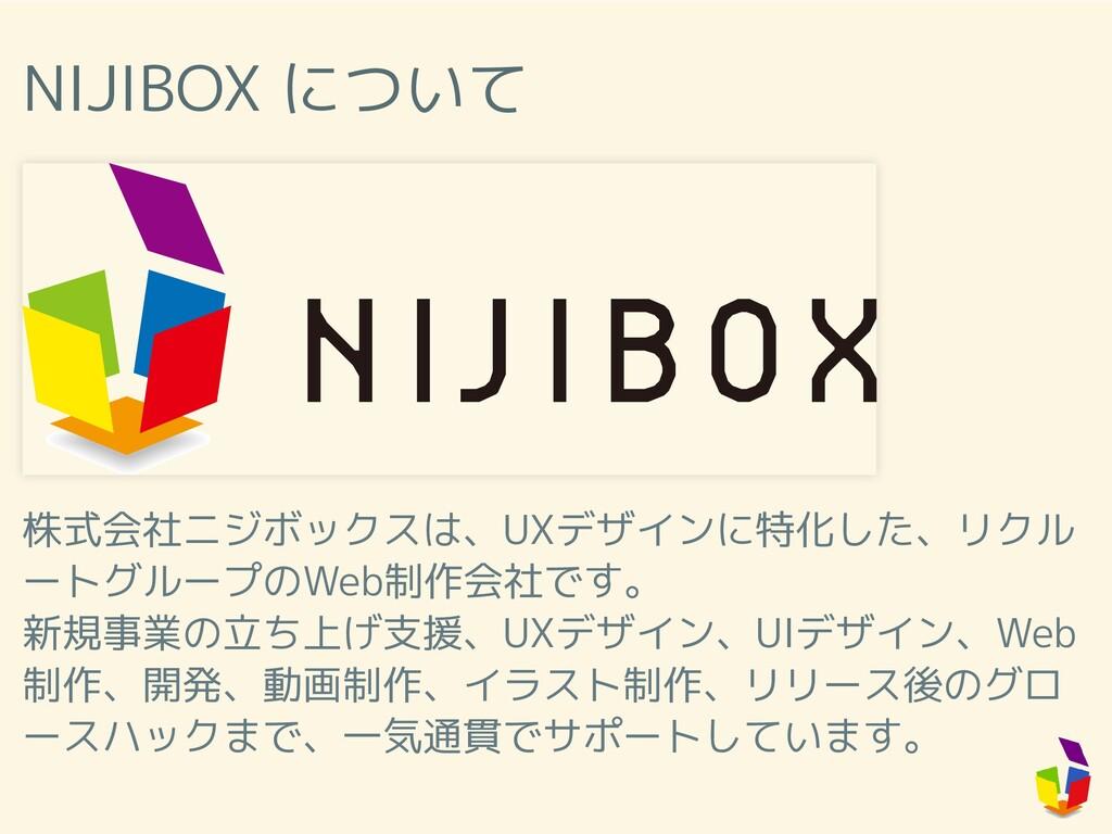NIJIBOX について 株式会社ニジボックスは、UXデザインに特化した、リクル ートグループ...