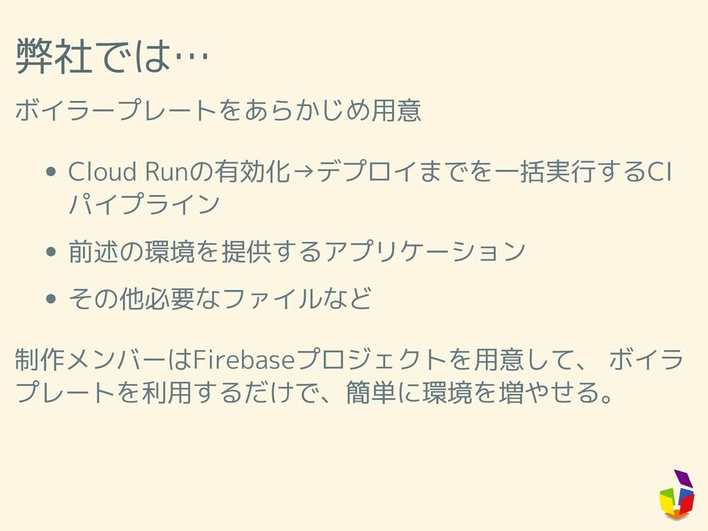 弊社では… ボイラープレートをあらかじめ用意 Cloud Runの有効化→デプロイまでを一括実...