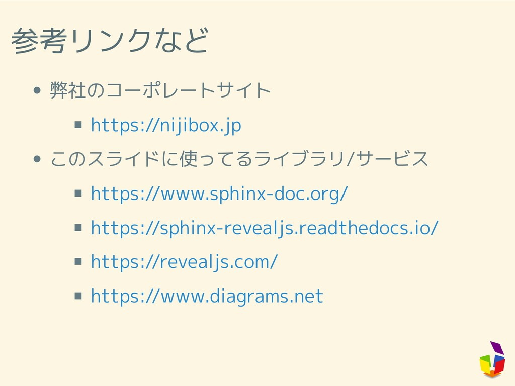 参考リンクなど 弊社のコーポレートサイト このスライドに使ってるライブラリ/サービス http...