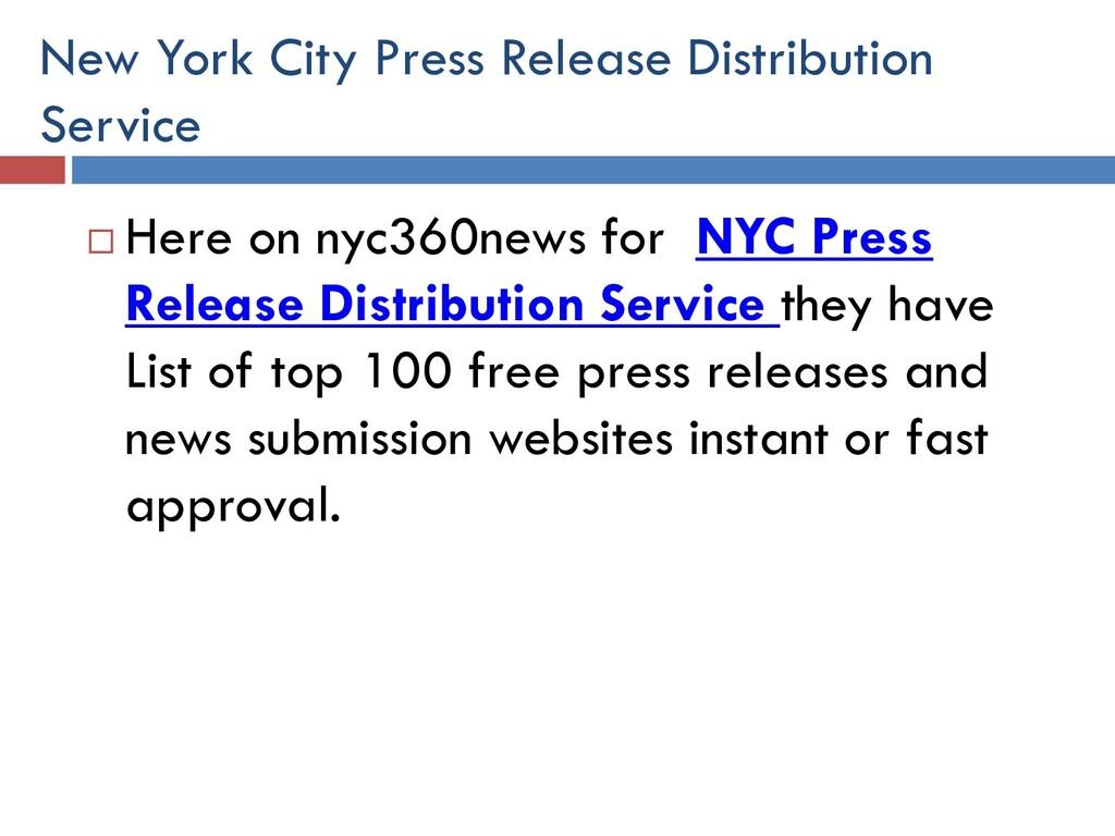New York City Press Release Distribution Servic...