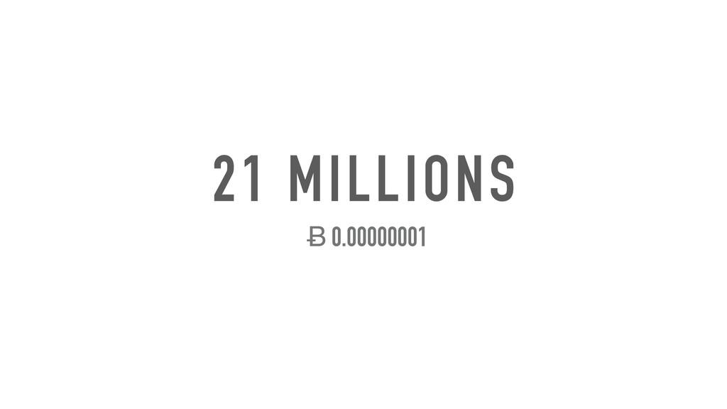 21 MILLIONS Ƀ 0.00000001