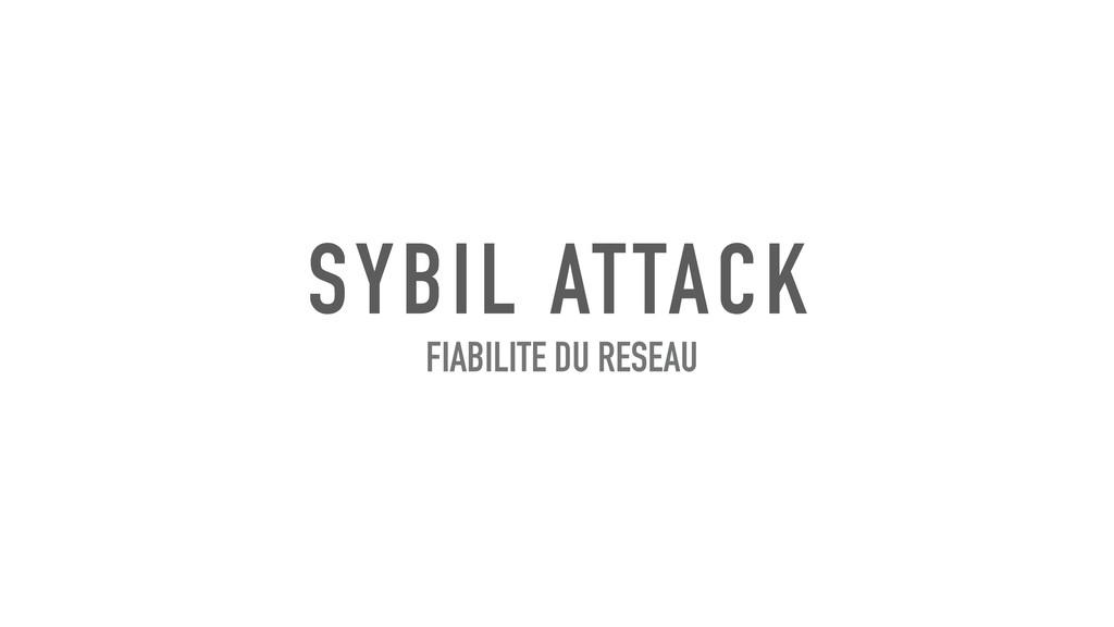 SYBIL ATTACK FIABILITE DU RESEAU