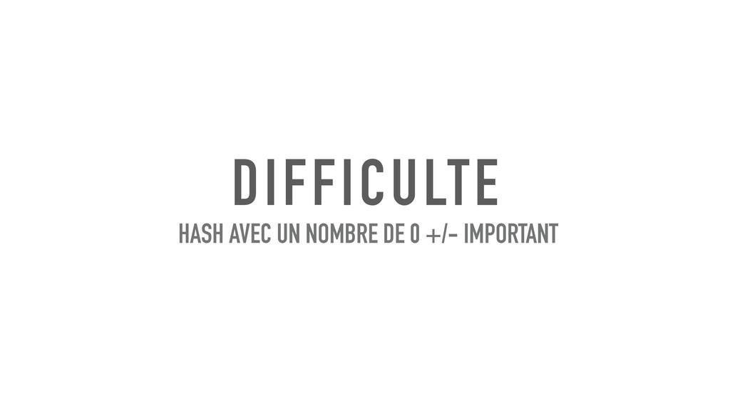 DIFFICULTE HASH AVEC UN NOMBRE DE 0 +/- IMPORTA...
