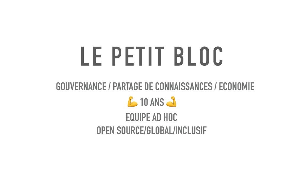 LE PETIT BLOC GOUVERNANCE / PARTAGE DE CONNAISS...