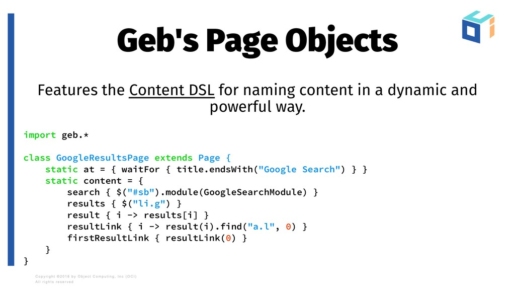 Geb's Page Objects Features the Content DSL for...